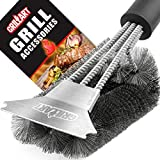 "Grill Brush and Scraper - Extra Strong BBQ Cleaner Accessories - Safe Wire Bristles 18"" Stainless Steel Barbecue Triple Scrubber Cleaning Brush for Gas/Charcoal Grilling Grates, Wizard Tool"