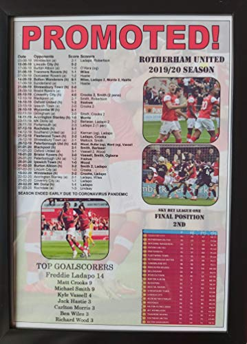 Rotherham United League One runners-up 2020 - framed print