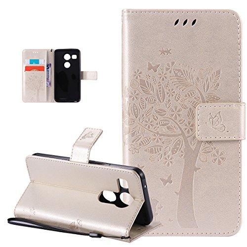 Kompatibel mit LG Nexus 5X Hülle,LG Nexus 5X Schutzhülle,Prägung Katze Schmetterlings Floral Blumen PU Lederhülle Flip Hülle Handyhülle Ständer Tasche Wallet Hülle Schutzhülle für LG Nexus 5X,Gold