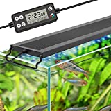 hygger Auto On Off LED Aquarium Light, Full Spectrum Fish Tank Light with LCD Monitor, 24/7 Lighting Cycle, 7 Colors, Adjustable Timer, IP68 Waterproof, 3 Modes for 12'-18' Freshwater Planted Tank