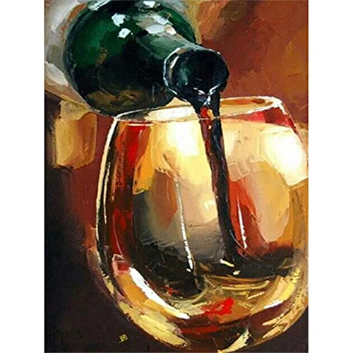 DIY 5D Diamante Pintura Taladro Completo Kit Diamante Arte Diamond Painting Copa de vino tinto Imagen Rhinestone Bordado Pintura diamante Punto de Cruz para Decoración Taladro Redondo 30x45cm