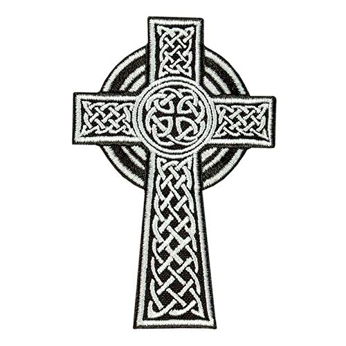 Celtic Cross Patch, Irish Christian Religious Emblem, Celtic Knot Embroidered Iron On Patch, Size: 2.6ʺ x 4ʺ