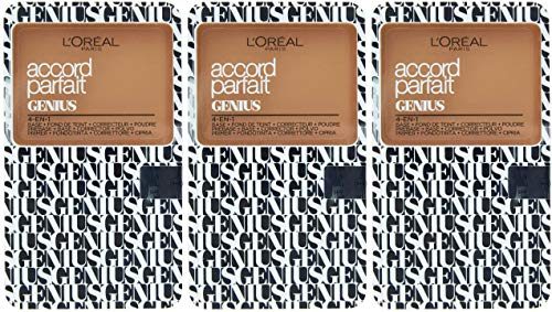 L 'Oréal Paris Make Up Designer – Accord Parfait Genius Compact 4 en 1 – 5 N arena – Lote de 3