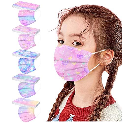 Kinder 50 Stück Einweg Mundschutz Vliesstoff 3-Lagig Schmetterlings Druck Atmungsaktive Staubdicht Halstuch für Jungen und Mädchen Cartoon Druck Atmungsaktiv Mundbedeckung (D)