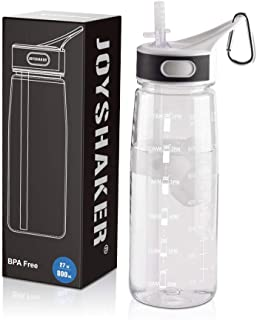 JOYSHAKER Reusable Bpa Free Water Bottle with Time Marker and Straw for Kids ,Leakproof Wide Mouth Drinking Motivational Fitness Bottles,800ml High Capacity Tritran Bottle for Outdoor Enthusiast