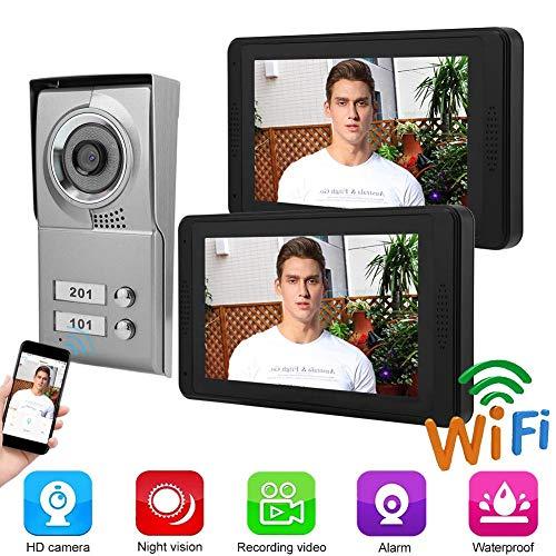 Garsent Intercom-deurbel, 7 inch wifi-video-deurintercom, deurbel-intercom-systeem met nachtzicht, 2-weg audio, ondersteuning 64 G TF-kaart voor 1 familiehuis.