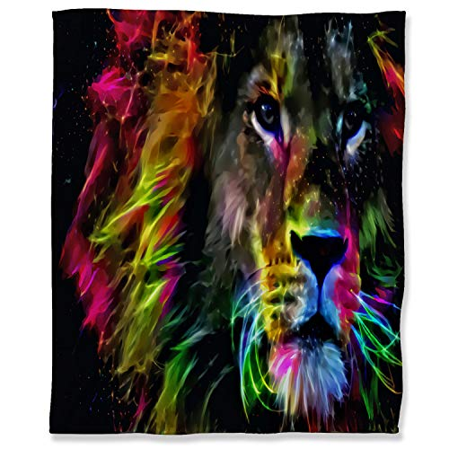 ARYAGO Throw Blanket Decorative Ultra-Plush 100 x 130 cm, The Lion King Fuzzy Flannel Blanket Throw Anti-Static Lightweight Microfiber, Colorful Abstract Art Lion