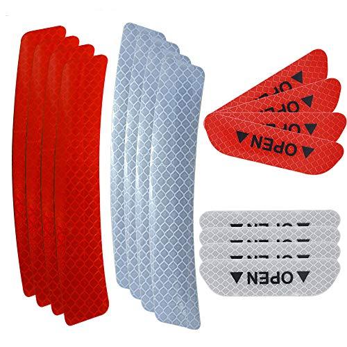 Senven Erweiterte Öffnen Sie die Tür Autotür Antikollisionswarnung Reflektierende Aufkleber, Universal Auto Rad Augenbraue Reflektierende Wasserdichte Aufkleber, Reflektierender Rot und weiß -16Pcs
