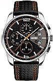 Qingmei Uomo Orologio Multifunzione Analogico Quarzo Cinturino Pelle Calendario Cronografo impermeabile Orologio Sportivo 9106 (arancia)