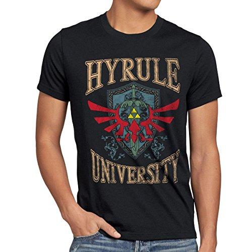 style3 University of Hyrule Camiseta para Hombre T-Shirt, Talla:L;Color:Negro