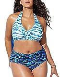 CheChury Donna Bikini Taglie Forti a Vita Alta Imbottito Costume da Bagno Due Pezzi Push Up Imbottito Reggiseno Spiaggia Costumi Mare