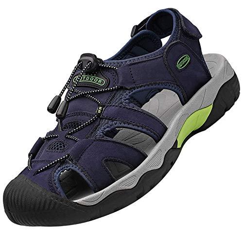 Unitysow Sandalias Deportivas para Hombre Verano Moda Sandalias de Trekking Casual Comodas Ajustable Hebilla Velcro Antideslizante Sandalias de Play,Azul,46 EU