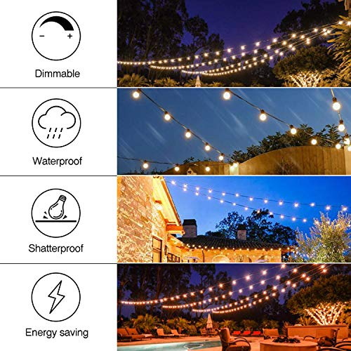 Banord 102FT Dimmable LED Outdoor String Lights, 34 Hanging Sockets with 35 x Shatterproof LED Bulb Party Lights, Waterproof Vintage Ambiance Patio Lights String for Wedding, Gatherings