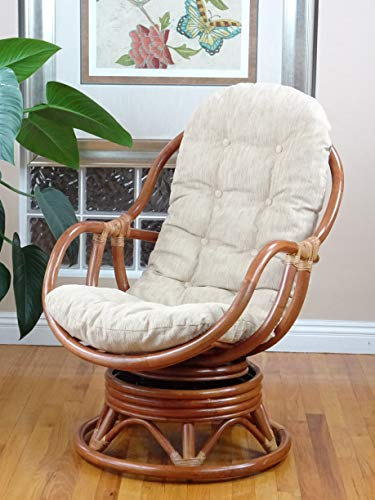Bali Lounge Swivel Rocking Chair with Cream Cushion Natural Rattan Wicker Handmade, Colonial