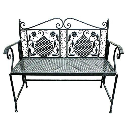 Mojawo Edle Parkbank aus Eisen Gartenbank 107cm 2-Sitzer Antik Design Sitzbank im Landhausstil Farbe Braun