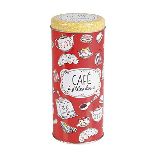 Delys-By-Verceral Cafe-Color Bote Ordenación para Café, Metal, Rojo, 7.5x7.5x18 cm