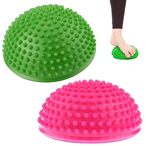 2 Piezas Masaje Bolas de Yoga, Bola de Equilibrio para Mejorar Coordinación, Bola Equilibrio Erizo para Niños y Adultos, Masaje Pies, Entrenamiento Estabilidad, Terapia Equilibrio (Rosa, Verde)
