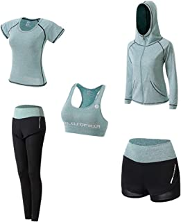 Ropa Deportiva Mujer, 5set Traje Camiseta para Deporte Yoga