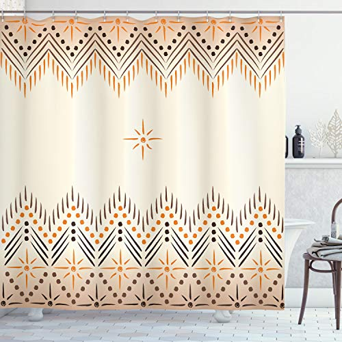 "Ambesonne Geometric Shower Curtain, Vintage Prehistoric Aztec Motif with Folk Art Effect Print, Cloth Fabric Bathroom Decor Set with Hooks, 75"" Long, Amber Peach"