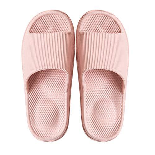 Sommer Hausschuhe Badelatschen Dusch-Badeschuhe rutschfest Frauen Männer Slipper Pink 38-39 EU