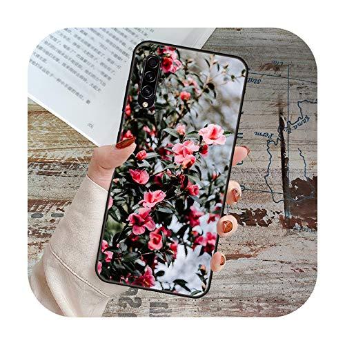 Schutzhülle für Samsung Galaxy A 50 51 71 70 7 5 10 20 30 40 41 21 S E 5G Schwarz Cover Coque Trend Etui Fashion Rote Rosen Blumen Blumen O7-Galaxy A51 (5G)