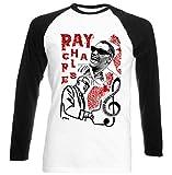 Photo de TEESQUARE1st Men's Ray Charles Jazz Black Long Sleeved T-Shirt Size Small