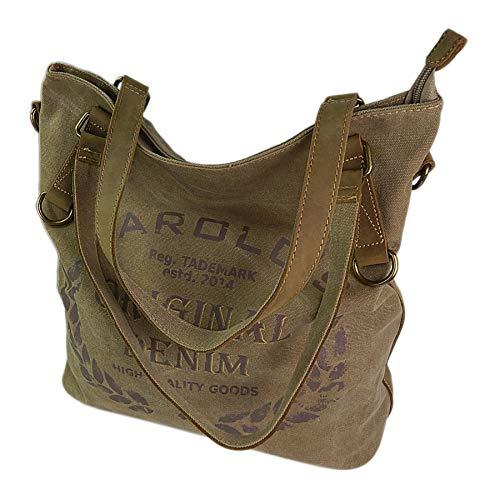 ekavale Große Canvas Damen Handtasche Shopper Umhängetasche Schultertasche Baumwollstoff Segelstoff Tasche (Natur)