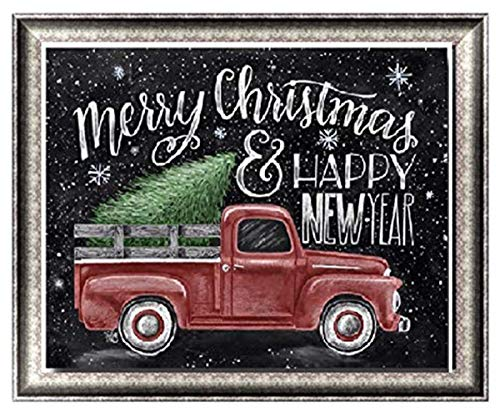 Diamond Painting Kits for Adults – 5D DIY Round Diamond Number Kits with Full Drill – Crystal Rhinestone Diamond Embroidery Paintings for Home 15.8 ×11.8 Inch Christmas New Year Car