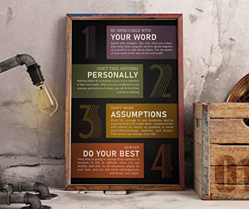 Anna Flora The Agreements Poster - Four Ways to Change Your Life Horizontal Print Motivational Print Poster Décor Home Office