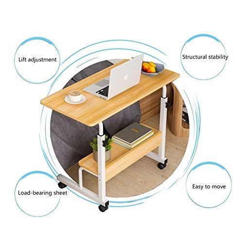 Laptoptisch Höhenverstellbar Bett, Mobiler Betttisch Auf Rollen, Computertisch Sofa Bett Ständer Schreibtisch Pflegetisch Einstellbar (Size : 80x40cm)