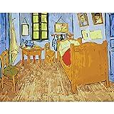 Pintura por Números para Adultos y Niños DIY Pintura al óleo Kit ,con 3 Pinceles y Pinturas Acrilicas Decoraciones para el Hogar 16x20 Pulgadas/40x50cm (Sin Marco) El dormitorio de Van Gogh en Al