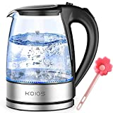 KOIOS Electric Kettle 1.8L Hot Water Boiler Teapot & Glass Tea Kettle with LED Cordless Fast Heating, Auto Shut-Off,...
