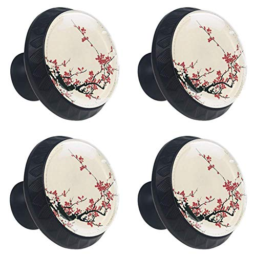 Ancient Artistic Cherry Blossom Plum Drawer Knob Cupboard Pull Handle 4PCS with Screws for Home Dresser Cupboard