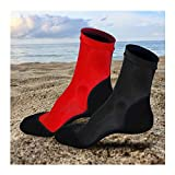 2 Pairs Neoprene Fin Socks for Sand Beach Water Sports Volleyball Soccer Swimming Diving Fishing Kayak Surfing Rafting Snorkeling (Black+Red,2XL)