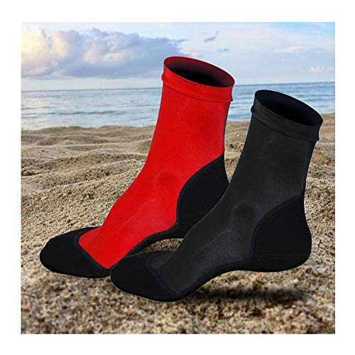 2 Pairs Neoprene Fin Socks for Sand Beach Water Sports Volleyball Soccer Swimming Diving Fishing Kayak Surfing Rafting Snorkeling (Black+Red,S)