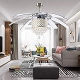 LuxureFan Modern Crystal Ceiling Fan Light for Living Room Restaurant...