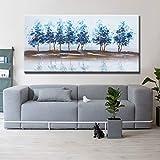 N / A Riverside Bäume Bild Wandkunst Moderne abstrakte Poster und Druck Leinwand Malerei Wohnzimmer Wand Wohnkultur No Frame 60x120CM