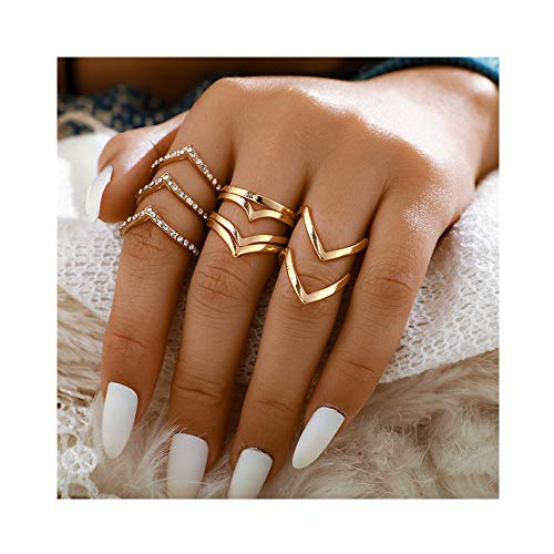 POYDORA Vintage Gold Bohemian Stack Rings V Rhinestone Joint Rings Knuckle Nail Ring Set for Women Girls (5 PCS-2)