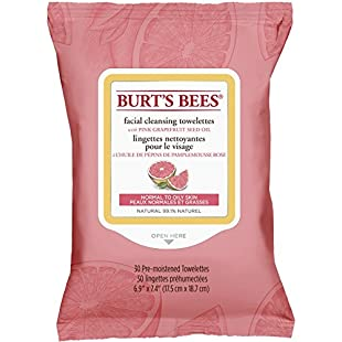 Burt's Bees Facial Cleansing Towelettes, Pink Grapefruit, 30-Count
