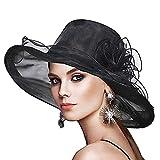 Sombrero Mujer Ceremonia Negro ala Ancha Dama de Honor Elega