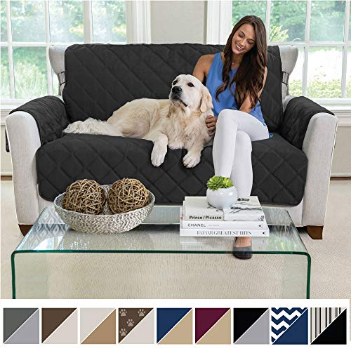 MIGHTY MONKEY Premium Reversible Loveseat Slipcover Seat Width to 54 Inch Furniture Protector 2 Inch Elastic Strap Washable Slip Cover Protects from Kids Dogs and Pets Love Seat Black Gray