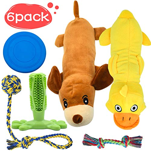 Stuffed Animals Squeaky Dog Toys for Small Dogs, Dog Rope Toy Set Dog Toothbrush Puppy Chew Toy for Chewing & Cleaning Teeth, Interactive Dog Frisbee Disc Toys, Cute Assorted Pet Toys Variety 6 Pack