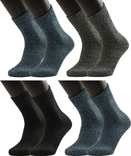 Vitasox Thermo Baumwoll Strümpfe Extra Soft mit Softrand ohne Gummidruck Extra warm für Herren in Jeans, Grau & Schwarz, 4 Paar, 43-46