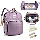 3in1 Travel Bassinet Foldable Baby Bed, Portable Crib Diaper Bag Backpack Changing Station Multi-Function Large-Capacity Mommy Bag with Mattress for Newborn Baby Toddler, Travel Home (Purple)