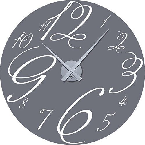 GRAZDesign wandklok grote sticker gebogen cijfers - wandtattoo klok met uurwerk retro cirkel / 800363 Uhrwerk silber 071, grijs