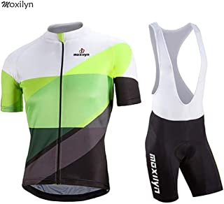 b4654751772c Moxilyn Abbigliamento Ciclismo da Uomo,Maglia Manica Corta+Pantaloncini,Cuscino  Gel 9D,