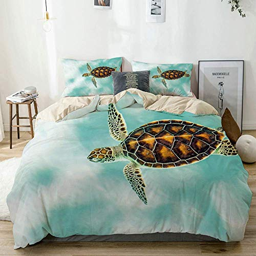 Duvet Cover Set Beige,Cute Baby Turtle Swimming in Abstract Waters Serene Nature, Decorative 3 Piece Bedding Set with 2 Pillow Shams