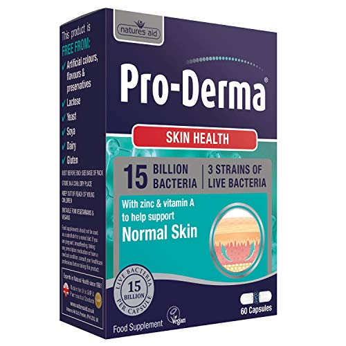Natures Aid Pro-Derma Skin Health 15 Billion Bacteria, Vitamin A, Zinc, Copper and Chromium, 60 Capsules