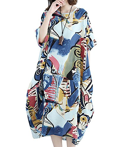 YESNO Women Long Maxi Baggy Dress Casual Plus Size Lagenlook 'Pop Art' Oil Painting Like/Pocket (One Size (US12-22), F01