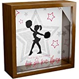Cheerleading Gifts | 6x6x2' Wooden Shadow Box with Glass Front | Keepsake Frame Ideal for Wall Decor | Memorabilia Gift for Cheerleader | Cheerleaders Room Decorations | Great to Collect Unique Items